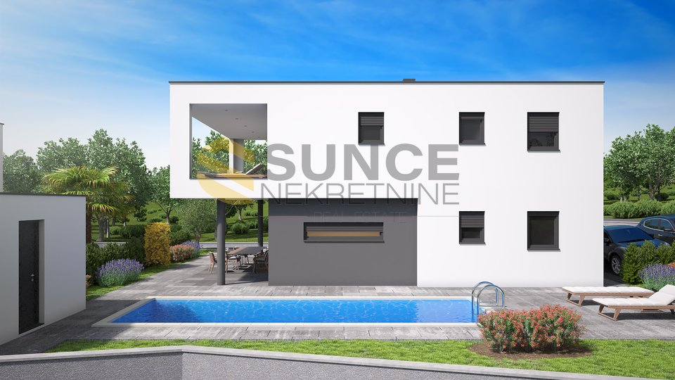 Malinska, new modern house in a quiet position with a beautiful sea view!